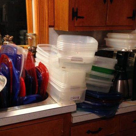 A portion of the containers that I would wash each year. So many containers! LOL