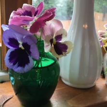 Flowers on my kitchen window sill are one of my favorite things.
