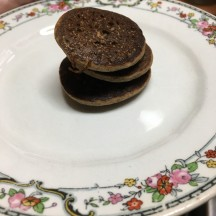 Teeny-tiny, gluten free, vegan, buckwheat pancakes. She hasn't tried them, yet. I hope she likes them. They have lots of goodness in them—black strap molasses, apple cider vinegar, and flax.